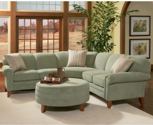 Charles Schneider Edge Seagreen Fabric Sectional Sofa With Ottoman