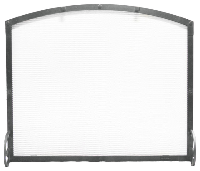 """Freestanding Arched Screen, Hammered Grained Pewter Finish, 38""""x1""""x32""""."""