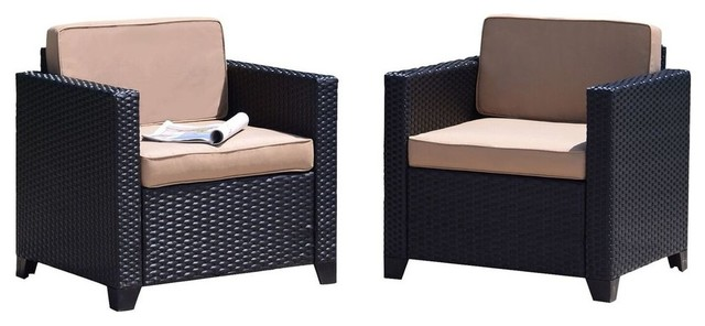 Stupendous Laporta Pearse Home Outdoor Rattan Club Chairs With Khaki Cushions Set Of 2 Caraccident5 Cool Chair Designs And Ideas Caraccident5Info