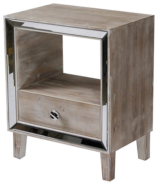 Bon Marche 1-Drawer Accent Cabinet With Mirror Accents, White Washed.