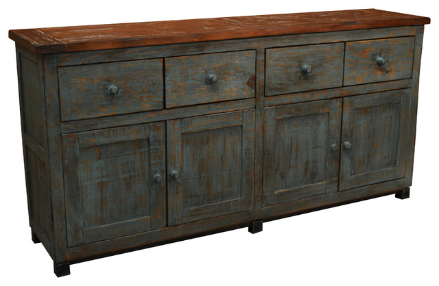 Solid Wood Sideboard, Antique Style Blue Finish - Farmhouse - Buffets And Sideboards - by ...