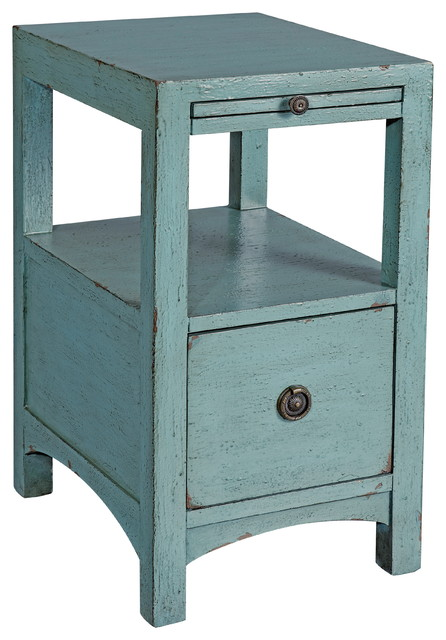 chair side table. 1-drawer chairside table, waves blue finish beach-style-side-tables chair side table