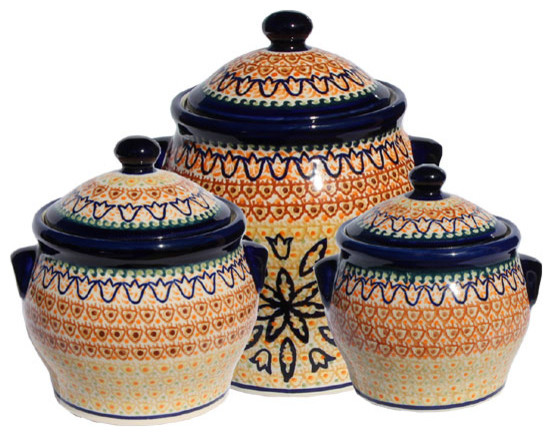 Polish Pottery Canister Set, Pattern Number: 117arset Farmhouse Kitchen  Canisters And