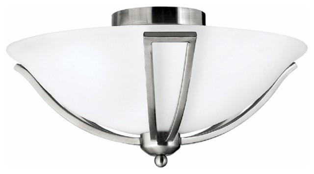 Hinkley Lighting Modern Contemporary Flush Mount Ceiling Light, Brushed Nickel.