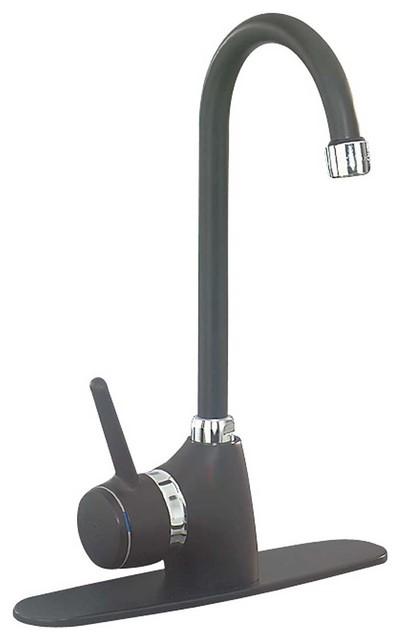 Black And Chrome Kitchen Faucets kitchen faucet black/chrome side handle gooseneck - farmhouse