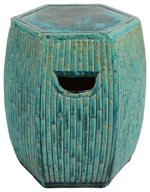 Turquoise Ceramic Bamboo Garden Stool Asian Accent And