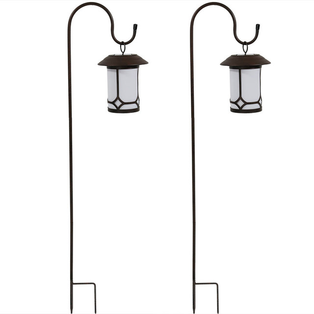 Sunnydaze Outdoor Hanging Solar Lantern With Shepherd Hooks Set Of 2
