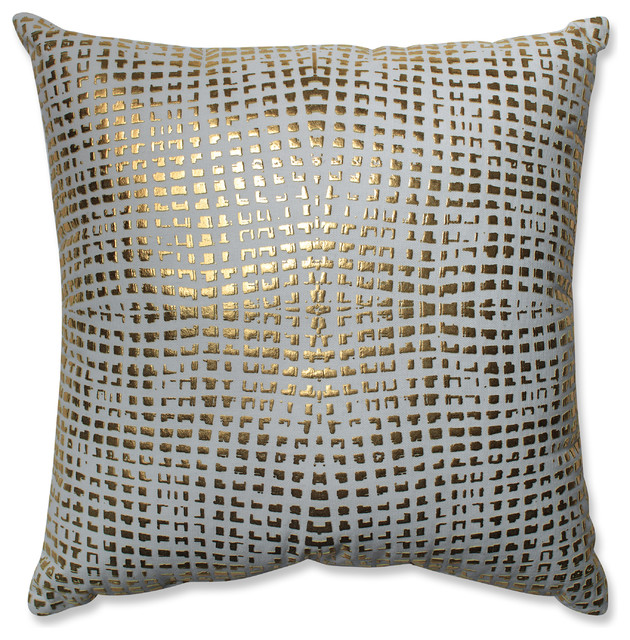 Decorative Pillows White And Gold : Glamour Square Gold-White 17.5