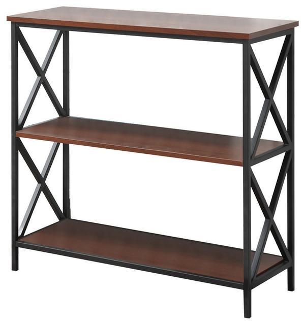 Tucson 3-Tier Bookcase, Black/Cherry
