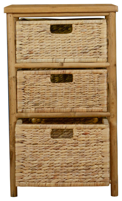Incroyable Kala Open Sided Bamboo Storage Chest With 3 Hyacinth Storage Baskets,  Natural