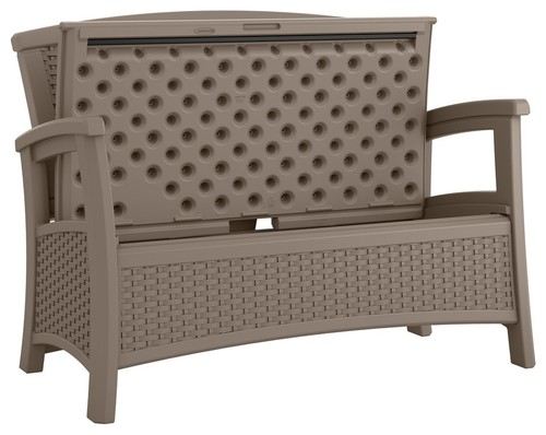 Wicker Storage Bench, Dark Taupe