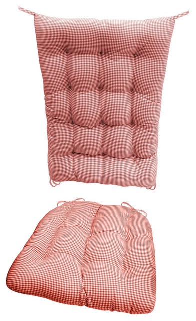 Madrid Red Gingham Rocking Chair Cushions Latex Fill Reversible Standard