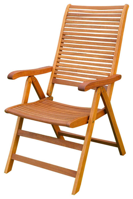 Set Of 2 Freeport 5-Position Folding Arm Chair,brown Stain.