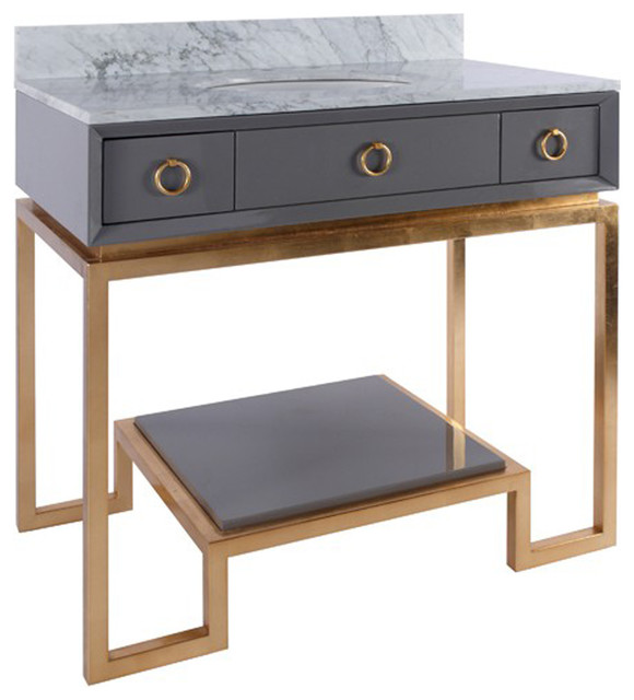 Bathroom Vanities Under $200 worlds away grey lacquer bath vanity paired with gold leaf base