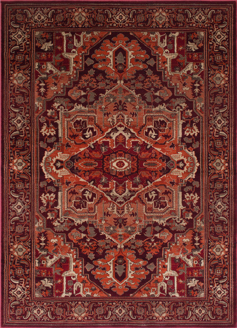 Traditional Style Area Rug, 8&x27;x10&x27;, Red Rust.