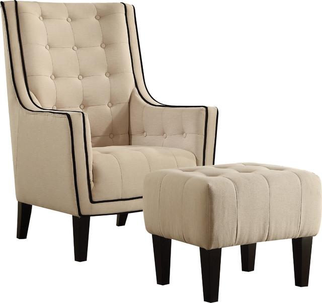 Peachy Ophelia 2 Piece Chair Ottoman Set Cream Linen Bralicious Painted Fabric Chair Ideas Braliciousco