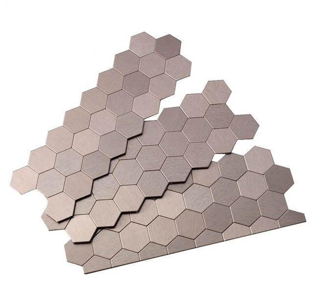 "Up To 45 Off Peel Stick Kitchen Backsplash Tile At Walmart: 4""x11"" Honeycomb Matted Metal Peel & Stick Backsplash Tile"