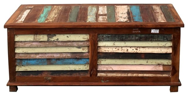 Rustic Reclaimed Wood Multi Color Coffee Table Storage Trunk Chest