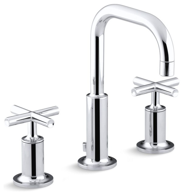Kohler Purist Widespread Lavatory Faucet, Low Gooseneck Spout Polished Chrome