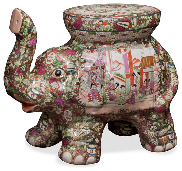 Hand-Painted Porcelain Elephant Seat