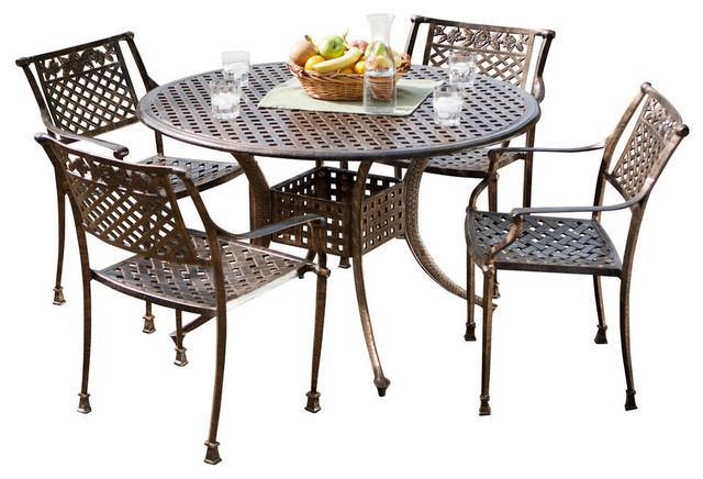 GDF Studio 5-Piece Sierra Cast Aluminum Outdoor Dining Set, Copper Finish