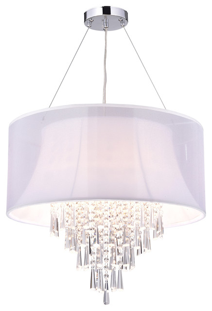 4 Light Double White Fabric Drum Shade Crystal Pendant Chandelier Glam Lighitng