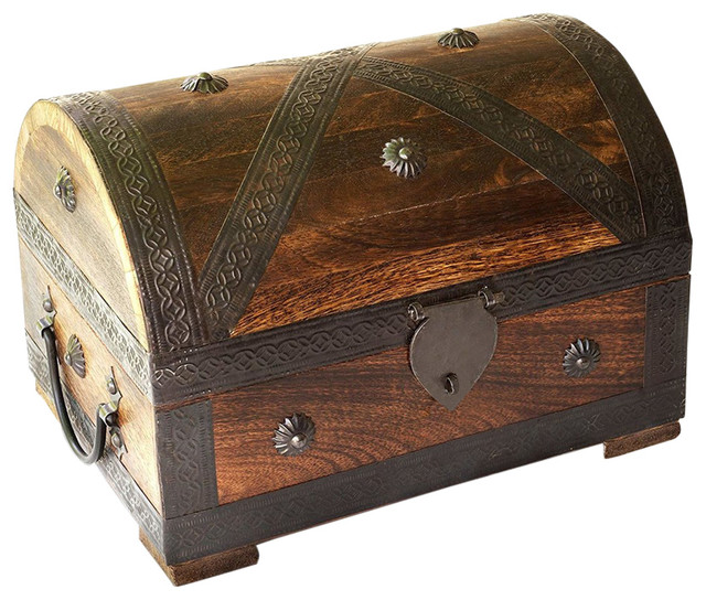 Treasure Storage Chest, Durable Wood and Metal Construction, Pirate Design