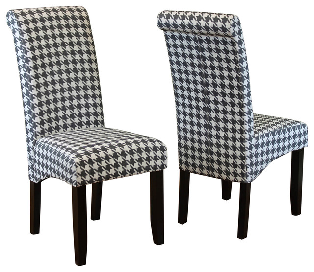 Milan Houndstooth Linen Dining Chairs Set Of 2 Dining