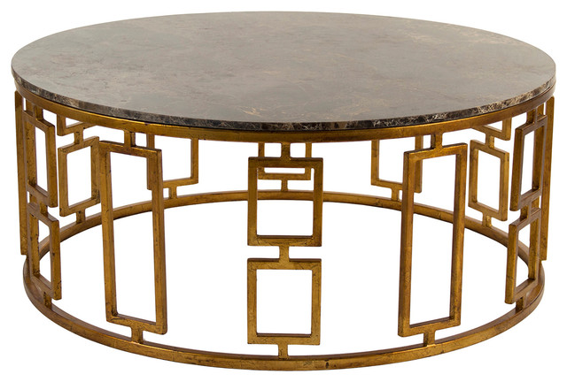 Lazar Global Bazaar Antique Brass Round Stone Coffee Table