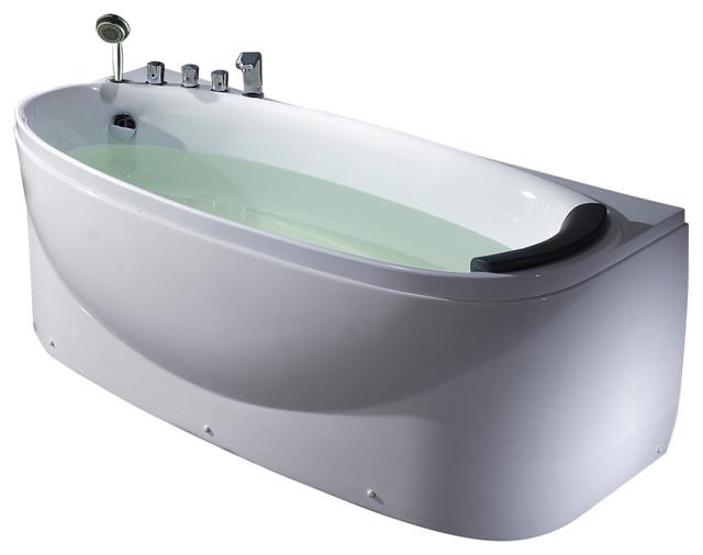 White Left Drain Acrylic 6&x27; Soaking Tub With Fixtures, Left.