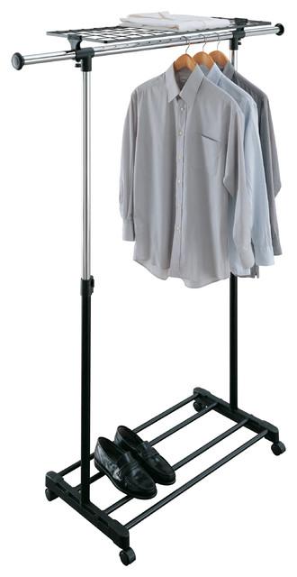 Adjustable Garment Rack With Shelf.