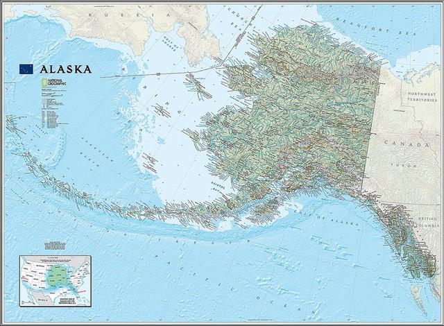Alaska State Map Wall Mural, Self-Adhesive Wallpaper - Contemporary ...