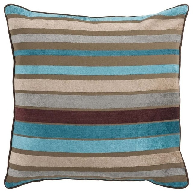 Surya Velvet Stripe Poly Fill 18quot Square Pillow Brown  : transitional decorative pillows from www.houzz.com size 640 x 640 jpeg 100kB