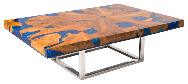 Blue Cracked Resin Coffee Table Modern Tables