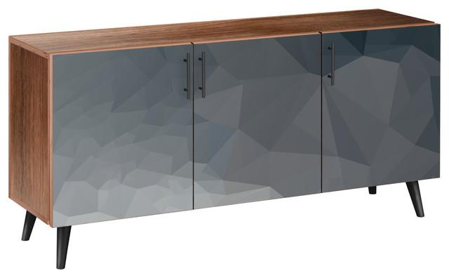 Midnight Topography Flare Sideboard, Walnut/black.