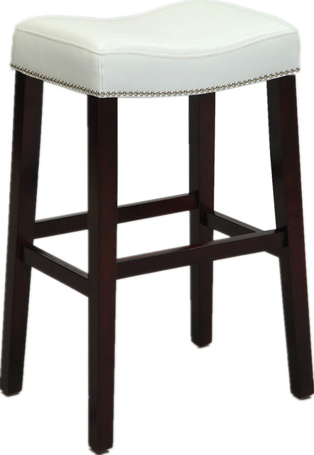 Counter Height Stools Nailhead Trim Faux Leather Cushion