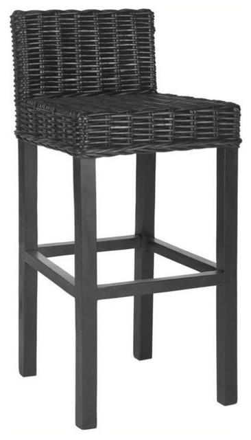 Super Safavieh Cypress 29 5 Mango Wood Bar Stool In Black Lamtechconsult Wood Chair Design Ideas Lamtechconsultcom