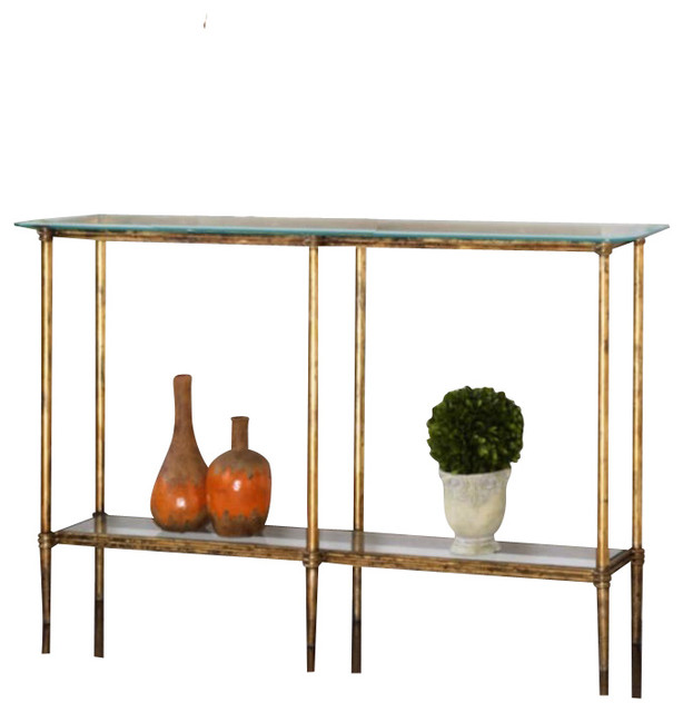 Uttermost Elenio Console Table, Bright Gold Leaf Contemporary Console Tables
