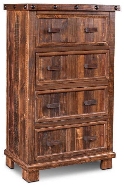 Westgate Solid Wood Rustic Brown Chest Of Drawers, Highboy Dresser.