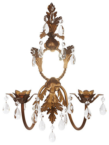 Antique gold French country wall sconce with two arms- a gorgeous French country lighting option for your European inspired home.