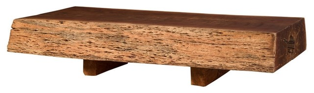 88 L Coffee Table Solid Slab Wood Smooth Top Rustic Live Edge Polished Finish