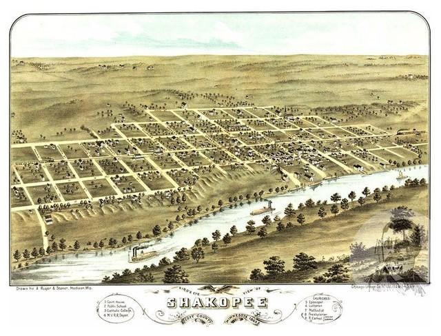 Historic Shakopee Mn Map 1869 Vintage Minnesota Art
