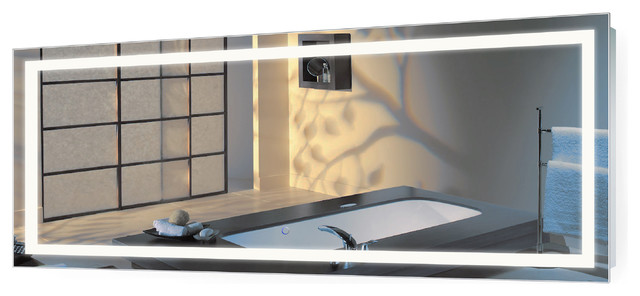 Large Led Lighted Bathroom Mirror With Defogger And Dimmer