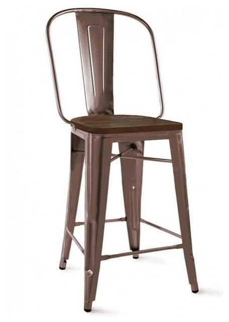 Dreux Steel Counter Chair 26 Inch Set Of 4 Industrial Bar