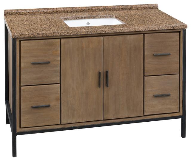 """bozeman 48"""" bathroom vanity, granite, solid wood - industrial"""