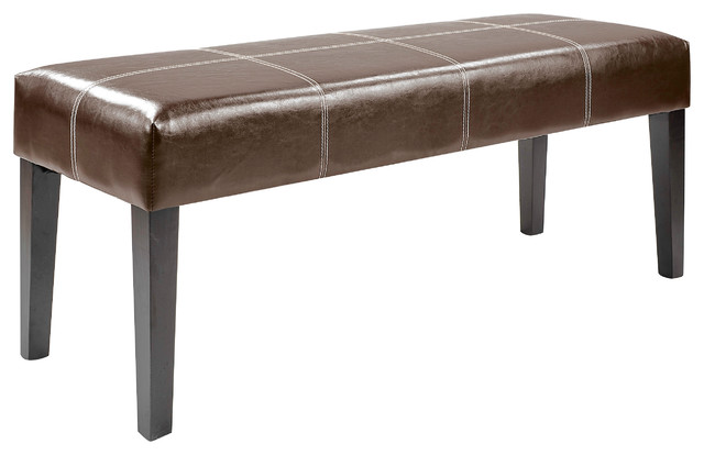 "Antonio 47"" Bench, Dark Brown Bonded Leather."