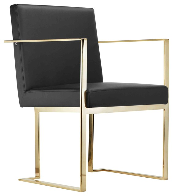 Gold Dexter Arm Chair, Black Contemporary Armchairs And Accent Chairs