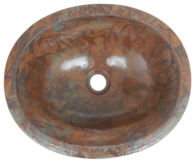 "Mexican Copper Sink Drop-In Bathroom Sinks 16""x13"" Rag Patina Patina."