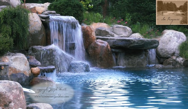 NJ Swimming Pool Waterfall & Dive Rock - Traditional - Pool - Newark ...