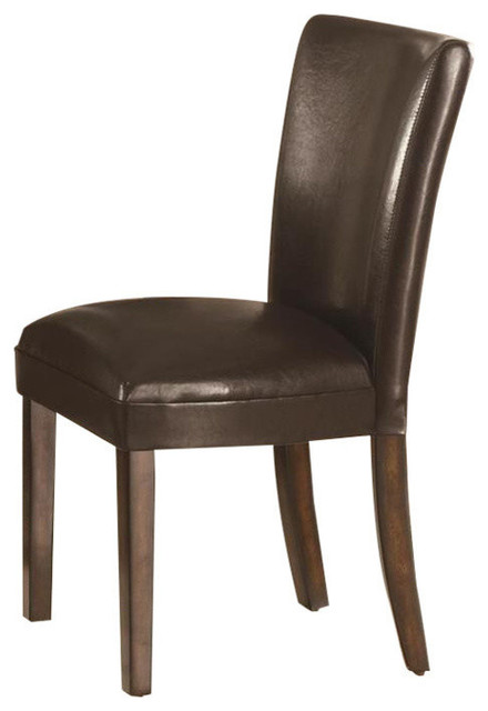 Delightful Nessa Brown Vinyl Parsons Chair, Set Of 2 Transitional Dining Chairs